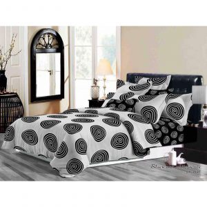 Classic Black & White Spiral Print 6 in 1 Bedding Set