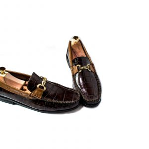 Glossy-brown-crocodile-skin-horsebit-loafers